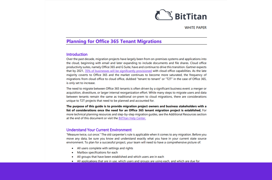 Planning for Office 365 Tenant Migrations